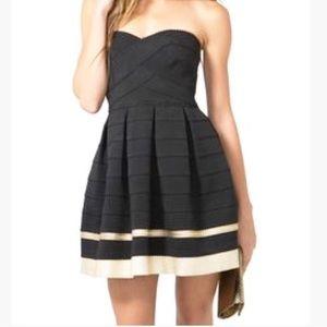 Elegant black and white strapless dress